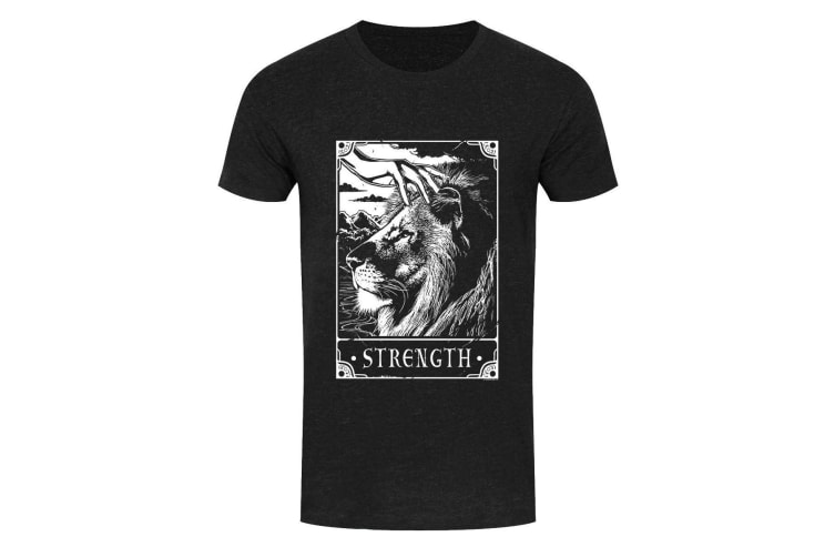 Deadly Tarot Mens Strength T Shirt (Heather Black) (L)