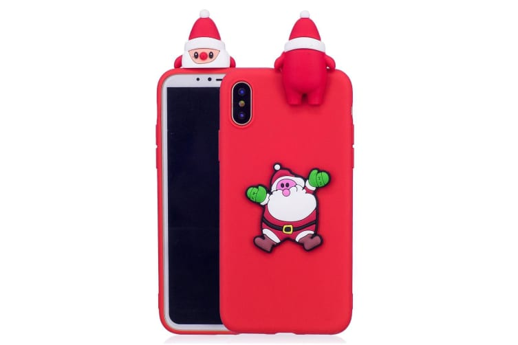For iPhone XR Case Red 3D Santa Claus Pattern Protective Back Cover