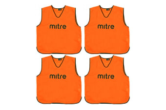4x Mitre XXL Adults Running/Soccer/Rugby/Basketball Sport Vest Training Bibs ORG