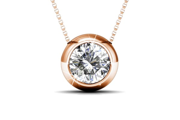 Opulence Necklace And Earrings Set w/Swarovski Crystals-Rose Gold/Clear