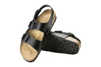 Birkenstock Unisex Milano Smooth Leather Sandal (Black, Size 42 EU)