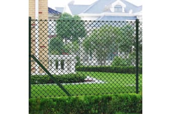 vidaXL Chain Link Fence with Posts Galvanised Steel 1x15 m Green