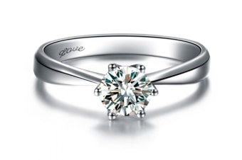 Womens Platinum-Plated-Cupronickel Classic 6 Prong Sparkling Cubic-Zirconia Solitaire Ring 7