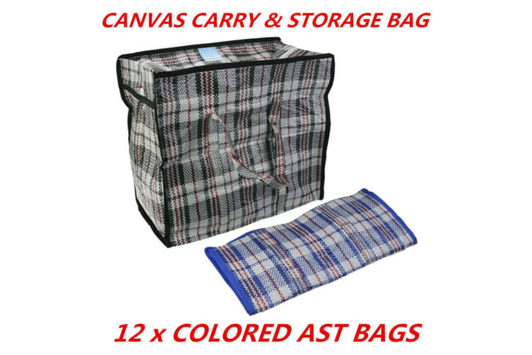 12 x Canvas Bag BBQ Camping Outdoor Carry Storage Organisation Heavy Duty 39x35x30cm