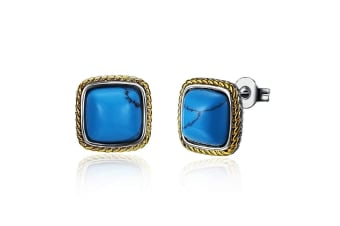 Square-Shaped Turquoise Studs-Gold/Turquoise