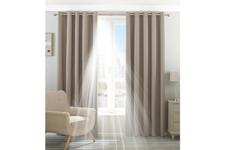Riva Home Eclipse Blackout Eyelet Curtains (Natural) (90 x 72in (229 x 183cm))