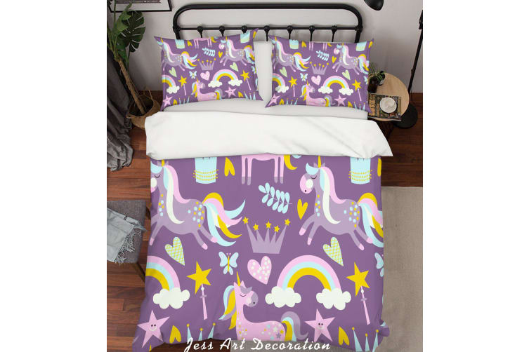 3D Purple Unicorn Rainbow Crown Star Quilt Cover Set Bedding Set Pillowcases 37-Queen