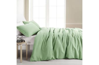 Dreamaker Amber Waffle Quilt Cover Set King Bed Lime Green