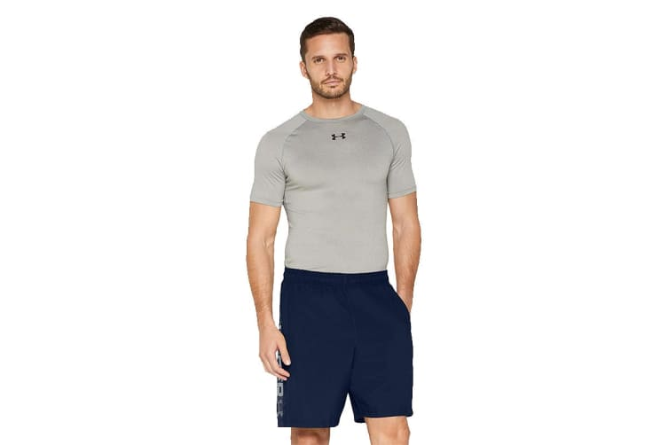 Under Armour Men's Woven Graphic Wordmark Shorts (Academy/Graphite, Size Extra Large)