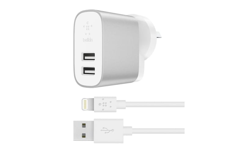 Belkin Boost Charge 2-Port Home Charger with Lightning to USB-A Cable (F8J230AU04-SLV)