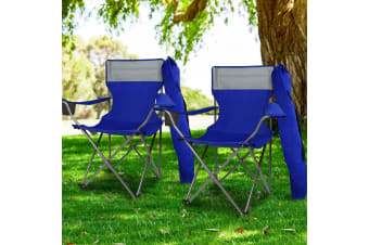 Weisshorn Set of 2 Folding Camping Arm Chairs Portable Outdoor Garden Fishing Picnic