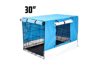 Foldable Metal Wire Dog Cage w/ Cover - BLUE 30""