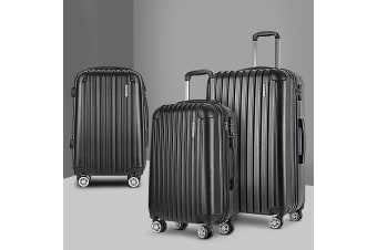 3pc Luggage Sets Suitcases Set Travel Hard Case Lightweight Black