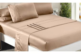 DreamZ Ultra Soft Silky Satin Bed Sheet Set in Queen Size in Gold Colour  -  GoldQueen