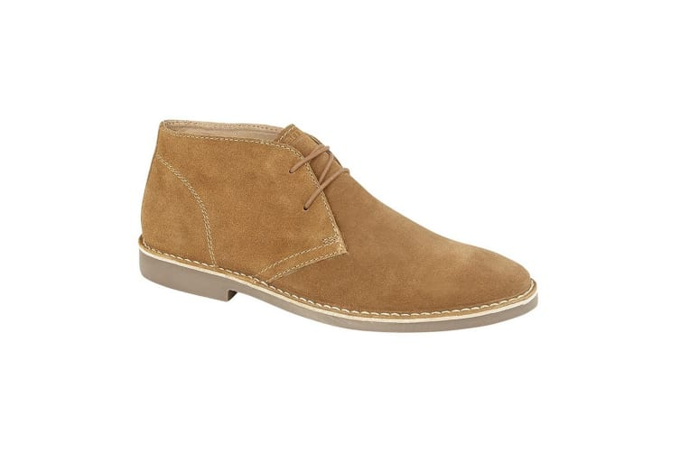 Roamers Mens Suede 2 Eye Desert Boots (Sand) (11 UK)