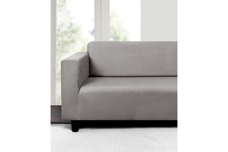 Sherwood Premium Faux Suede SILVER 2 Seater Couch Sofa Cover