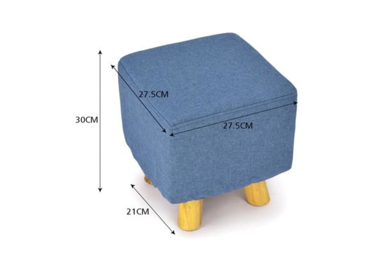 Luxury Chic Wooden Footstool Ottoman - Blue