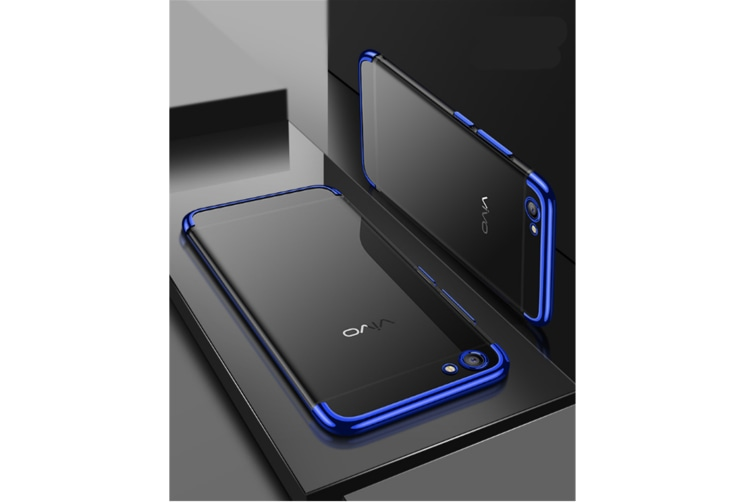 Three Section Of Electroplating Tpu Slim Transparent Phone Shell For Vivo Blue Vivoy71