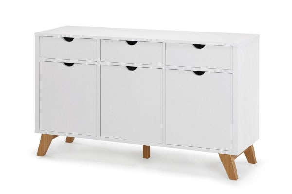 Ovela Drawer 3 Door Buffet - Finse Collection (White)