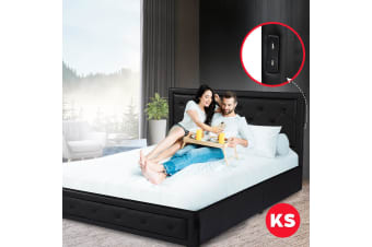 Royal Sleep King Single Leather Bed Frame Mattress Base Wooden Bellezza Black
