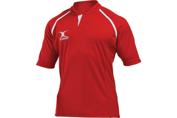 Gilbert Rugby Mens Xact Game Day Short Sleeved Rugby Shirt (Red) (M)