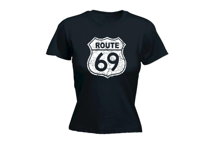 123T Funny Tee - Route 69 Sign - (X-Large Black Womens T Shirt)