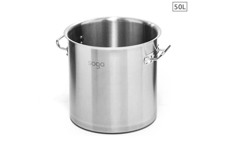 SOGA Stock Pot 50L Top Grade Thick Stainless Steel Stockpot 18/10 Without Lid