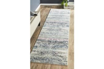 Hazel Navy, Grey & Pink Durable Vintage Look Runner Rug