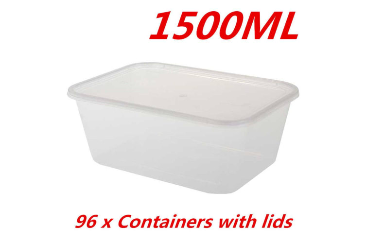 96 X 1500ml Take Away Containers With Lids Disposable Plastic Food Container 1 5l