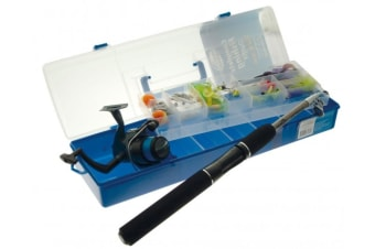 Jarvis Walker Complete 150 Pce Fishing Tackle Kit With Telescopic Rod and Reel