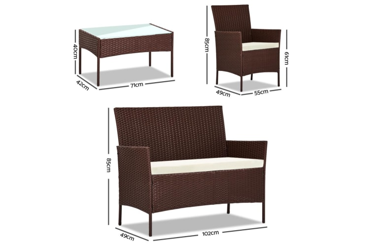 Garden Furniture Outdoor Lounge Setting Rattan Set Patio Chairs Table