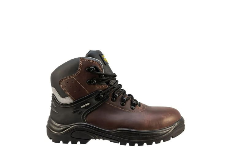 Grafters Mens Transporter Padded Ankle Mid Safety Boots (Dark Brown) (5 UK)