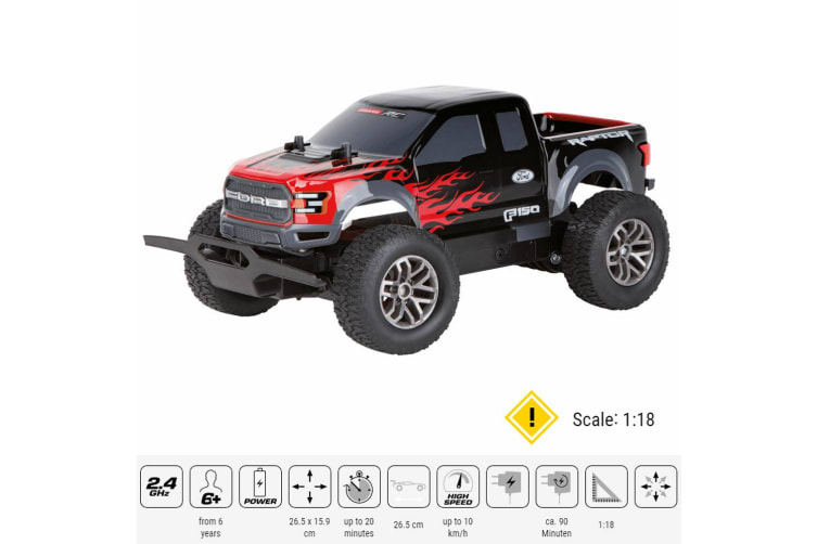 Carrera RC 1:18 USB Rechargeable Ford F-150 Raptor Off-Road Kids Toys Black/Red