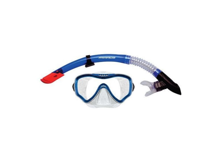 Mirage Adult Crystal Mask and Snorkel Set Blue/Clear