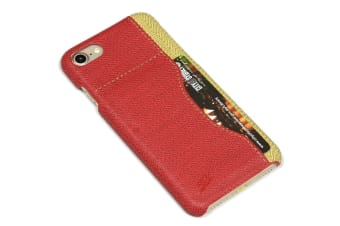 For iPhone 8 7 Case Stylish Woven Pattern Durable Protective Leather Cover Red