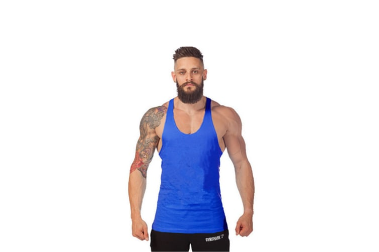 Men'S Muscular Cut Bodybuilding Gym Vest Y-Back Tank Top Blue Xxl
