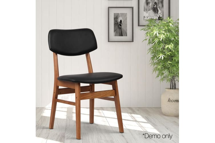 Artiss Set of 2 Wood and PVC Dining Chairs - Black