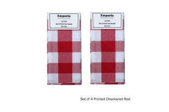 Set of 4 Checkered Tea Towels Printed Red