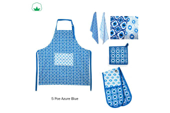 5 Pce Cotton Kitchen Set Azure Blue by IDC Homewares