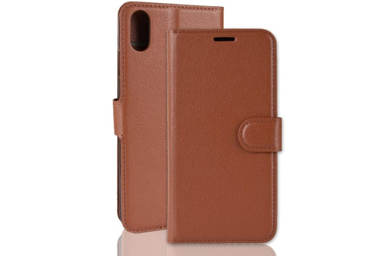 For iPhone XR Case Brown Lychee Leather Wallet Flip Cover Card Slots Kick Stand