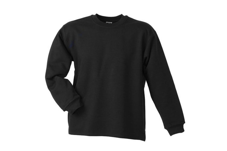 James and Nicholson Unisex Open Hem Sweatshirt (Black) (S)