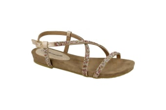 Leather Collection Womens/Ladies Diamante Cross Strap Sandals (Pink)