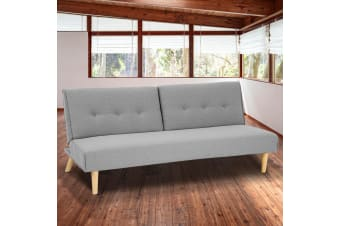 Soho 3 Modular Linen Fabric Sofa Bed Couch Lounge Futon - Light Grey