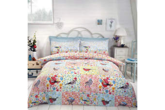 Hey Birdie Reversible Single Duvet Set (Multicoloured) (Single)