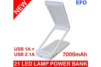21 Led Rechargeable Desk Lamp Power Bank 7000Mah 2X Usb Port 2.1A/1A Iphone 4 5