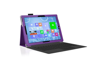 "Microsoft Surface Pro 6 / Pro 5 / Pro 4 (12.3"") Slim Folio Flip Case by MEZON – Compatible with Type Cover Keyboard – With Screen Protector and Stylus – Purple"