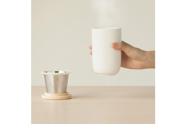 Emoi 260ml Double Wall Thermo Ceramic Tea Infuser Coffee/Drink Cup/Mug with Lid