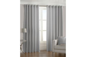 Riva Home Fiji Faux Silk Ringtop Curtains (Steel)