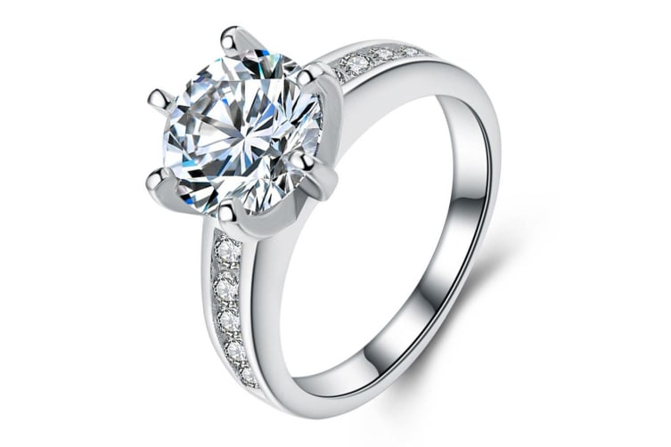 .925 Zirconia Desire Ring-Silver/Clear   Size US 8