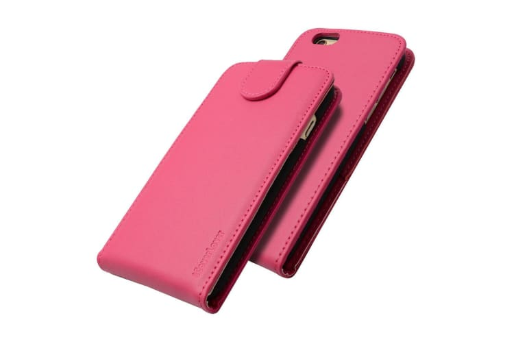 For iPhone 6S 6 Case iCoverLover Vertical Flip Genuine Leather Cover Magenta